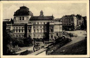 Ak Plzeň Pilsen Stadt, Mestske divadlo, Straßenpartie in der Stadt