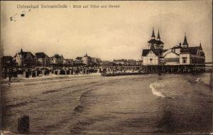Ak Świnoujście Swinemünde Pommern, Blick auf Villen und Strand
