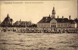 Ak Świnoujście Swinemünde Pommern, Blick auf Strand und Konversationshaus