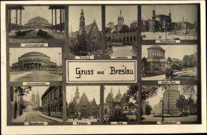 Foto Ak Wrocław Breslau Schlesien, Jahrhunderthalle, Hauptbahnhof, Domstraße, Rathaus, Dom