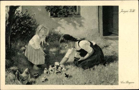 Künstler Ak von Bergen, Claus, Junges Volk, Mädchen füttern Küken