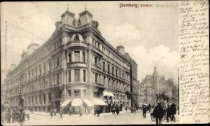 Ak Hamburg Mitte Altstadt, Blick auf den Posthof, Straßenpartie, Passanten