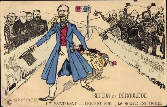 Künstler Ak Französischer Autor und Politiker Paul Déroulède, Le clairon, Karikatur