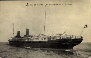 Ak Le Havre Seine Maritime, Le Transatlantique La Savoie, Paquebot, CGT, Passagierdampfer