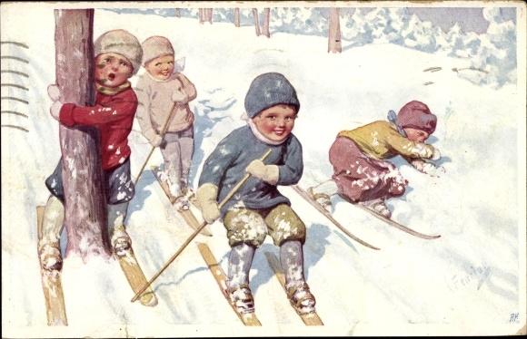 Künstler Ak Feiertag, Karl, Vier Kinder auf Skiern