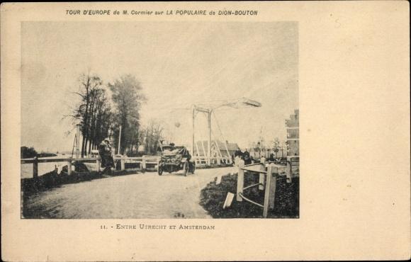 Ak Utrecht Niederlande, Tour d'Europe de M. Cormier sur la populaire De Dion Bouton, Auto