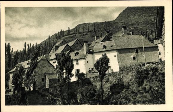 Ak Sallent de Gállego Aragonien, Bajada al Puente Viejo, Teilansicht der Ortschaft