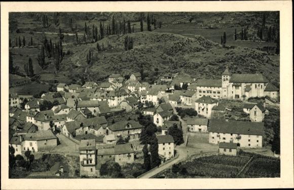 Ak Sallent de Gállego Aragonien, Vista Parcial, Teilansicht der Ortschaft, Kirche