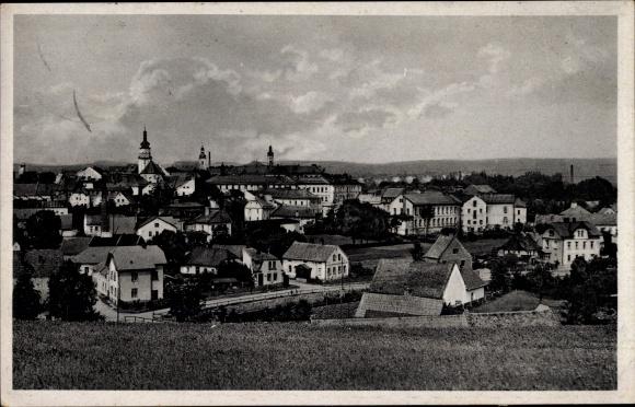 Ak Bruntál Freudenthal Reg. Mährisch Schlesien, Totalansicht der Ortschaft, Ostsudetenland