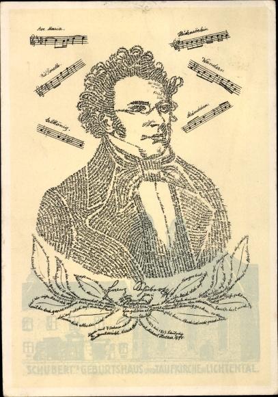 Künstler Ak Franz Schubert, Österreichischer Komponist, Portrait aus Schriftzeichen