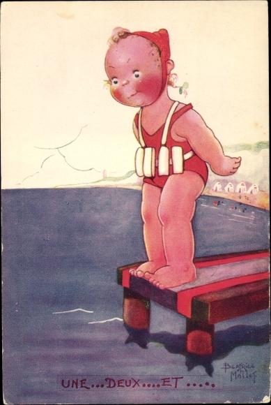 Künstler Ak Mallet, Beatrice, Une, deux, et.., Mädchen beim Schwimmen