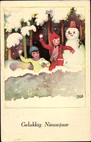 Künstler Ak Jos, Glückwunsch Neujahr, Kinder, Schneemann, Schneeballschlacht