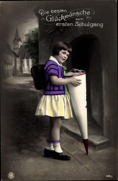 Ak Glückwunsch Einschulung, Mädchen mit Zuckertüte, NPG 408/1