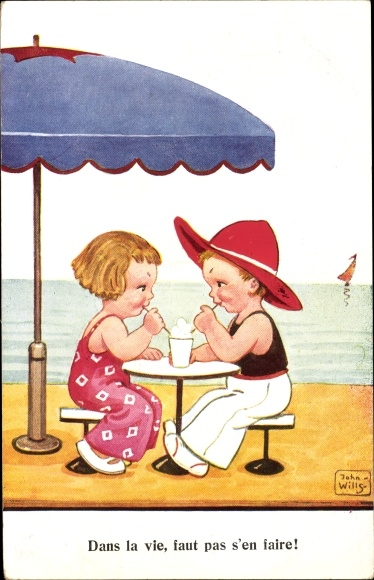 Künstler Ak Wills, John, Dans la vie, faut pas s'en faire, Paar trinkt einen Milkshake