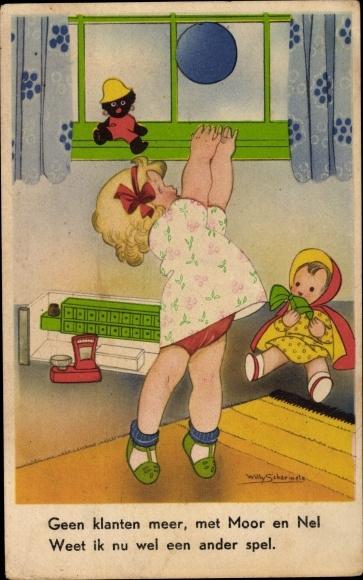 Künstler Ak Schermele, Willy, Mädchen spielt mit einem Ball, Puppen