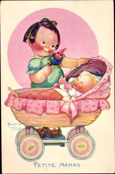 Künstler Ak Mallet, Beatrice, Petite Maman, Mädchen, Puppe, Puppenwagen