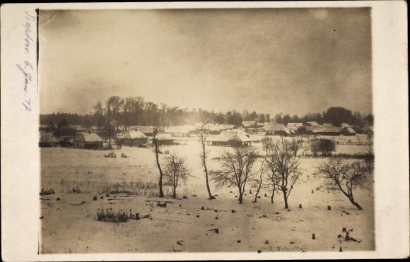 Foto Ak Trzebiatów Treptow Rega Pommern, Ortschaft im Winter