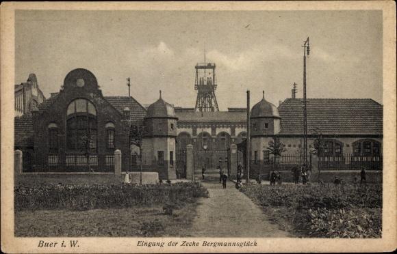 Ak Buer Gelsenkirchen im Ruhrgebiet, Eingang der Zeche Bergmannsglück, Förderturm