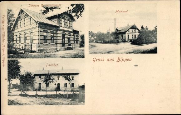 Ak Bippen in Niedersachsen, Jürgens Gastwirtschaft, Molkerei, Bahnhof