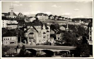 Ak Aue im Erzgebirge Sachsen, Muldenbrücke, Ortschaft