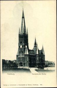 Ak Hamburg Eimsbüttel Harvestehude, Straßenpartie mit Blick auf die St. Johannis Kirche