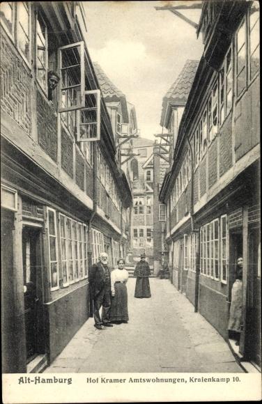 Ak Hamburg Mitte Altstadt, Blick in den Hof Kramer Amtswohnungen, Kraienkamp 10