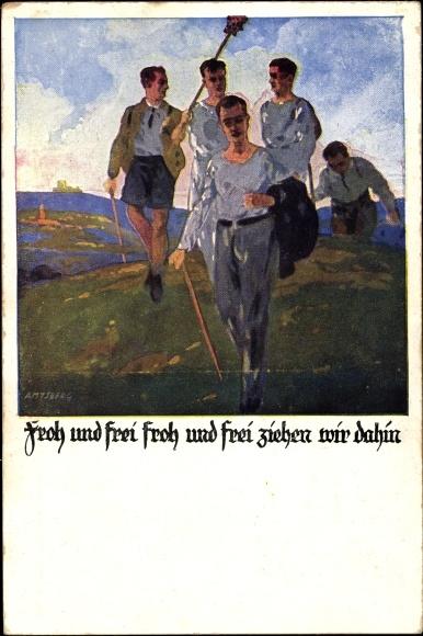Künstler Ak Amtsberg, Otto, Froh und frei ziehen wir dahin, Wanderer, Turner