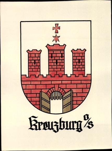Handgemalt Wappen Ak Kluczbork Kreuzburg Oberschlesien, Tor, Türme, Stern, Kreuz
