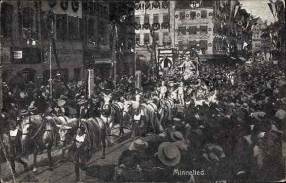 Ak Nürnberg in Mittelfranken Bayern, 8. Deutsches Sängerbundesfest 1912, Minnelied, Festwagen