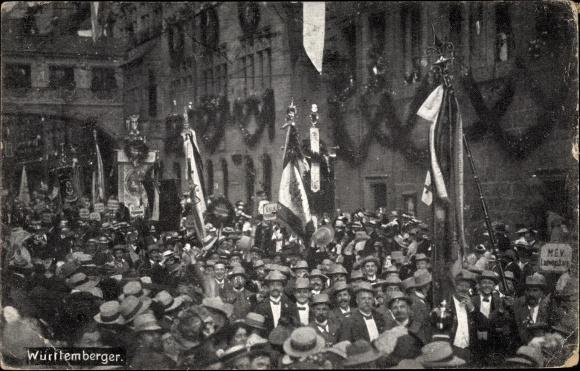 Ak Nürnberg in Mittelfranken Bayern, 8. Deutsches Sängerbundesfest 1912, Württemberger, Festzug
