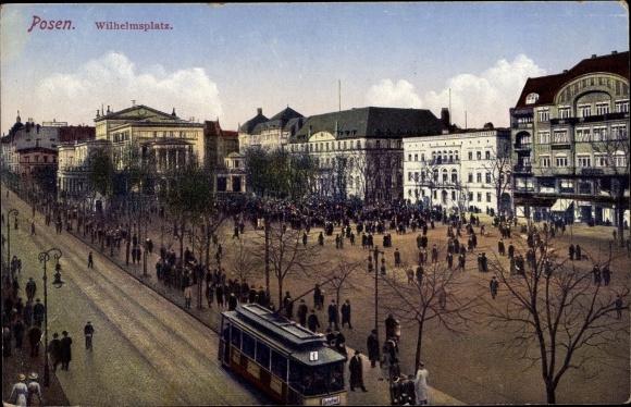 Ak Poznań Posen, Wilhelmsplatz, Straßenbahn