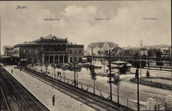 Ak Poznań Posen, Hauptbahnhof, Postamt, St. Lazarus