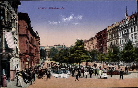 Ak Poznań Posen, Wilhelmstraße, Soldaten, Geschäft H. Heckert