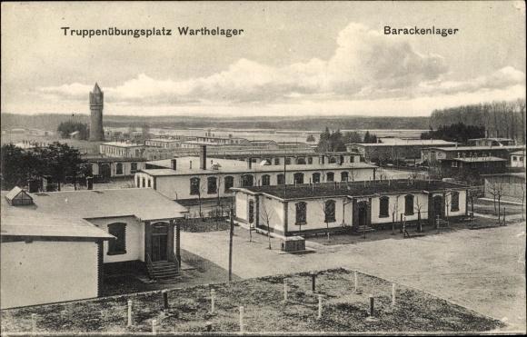 Ak Warthelager Poznań Posen, Truppenübungsplatz, Barackenlager