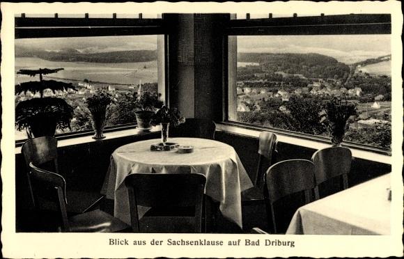 Ak Bad Driburg im Kreis Höxter, Blick auf die Ortschaft aus der Sachsenklause