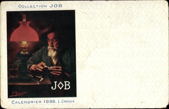 Künstler Ak Graner, L., Collection Job, Calendrier 1898, Zigaretten Reklame