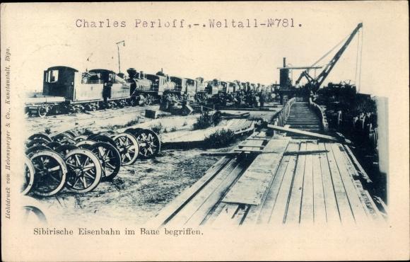 Ak Russland, Sibirische Eisenbahn im Bau begriffen, Streckenbau