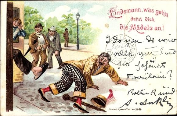 Litho Lindemann was geh'n denn dich die Mädels an, Mann wird aus Haus gejagt