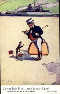 Künstler Ak Dupuis, Emil, Portugal, mais je suis si petit, Britisches Kriegsschiff, John Bull
