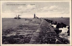 Ak Warszów Osternothafen Świnoujście Swinemünde Pommern, Ostmole, Signalturm