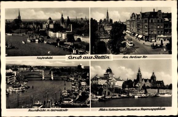 Ak Szczecin Stettin Pommern, Stadtansichten, Baumbrücke, Regierungsgebäude, Museum, Berliner Tor