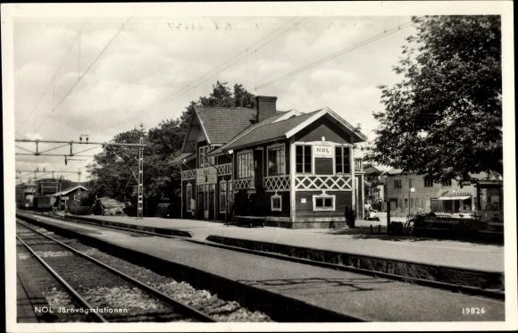 Ak Nol Schweden, Järnvägsstationen, Bahnhof, Gleisseite