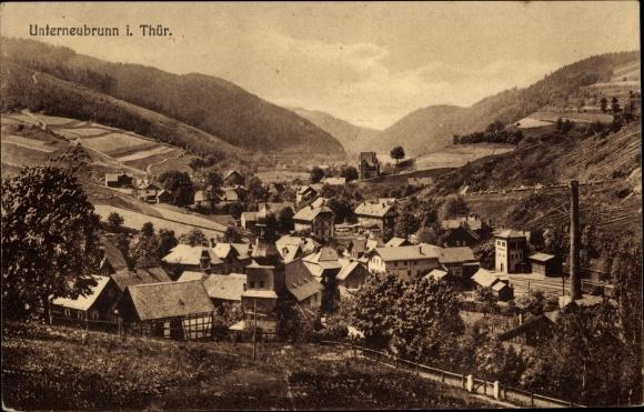 Ak Unterneubrunn Schleusegrund Thüringen, Blick auf Ortschaft und Umgebung