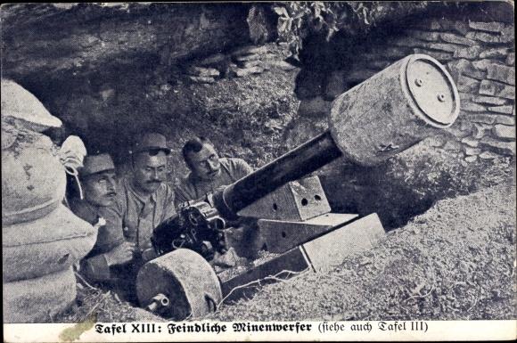 Ak Feindliche Minenwerfer im Unterstand, Französische Soldaten am Geschütz, Propaganda I. WK