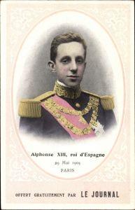 Ak König Alfons XIII. von Spanien, Alfonso XIII., Besuch in Paris 1905, Le Journal