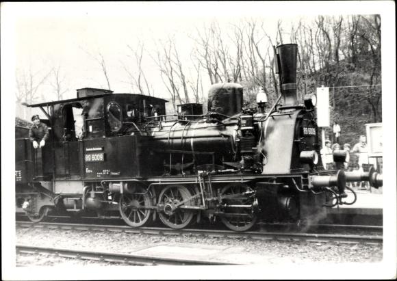 Foto Ak Annaberg Buchholz Erzgebirge, Dampflokomotive 89 6009 im Bahnhof, Lokführer, 100 Jahre