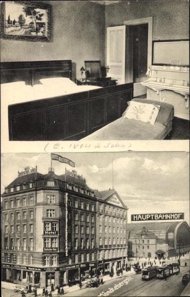 Ak Hamburg Mitte Altstadt, Hotelzimmer Deutsches Haus, Bes. Wilhelm Köppen, Hauptbahnhof