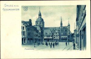 Litho Recklinghausen im Ruhrgebiet, Blick auf den Marktplatz, Passanten