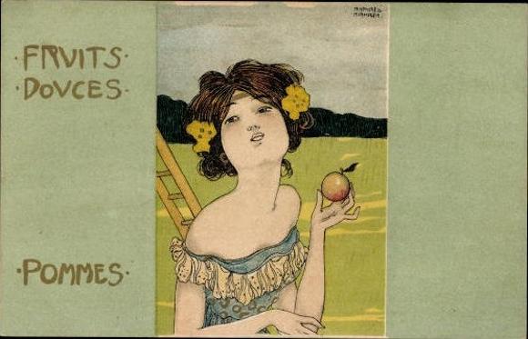 6 alte Jugendstil Ak Kirchner, Raphael, komplette Serie Süße Früchte, Fruits douces