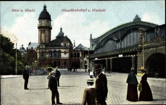 Ak Köln am Rhein, Partie am Hauptbahnhof und Viadukt